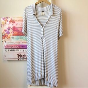 Free People Ryan Striped Oversized Button Tunic